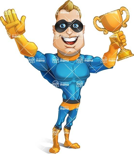 Superhero Cartoon Character AKA Commander Dynamo - Winning a Cup
