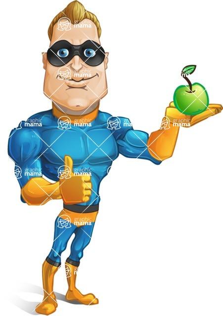 Superhero Cartoon Character AKA Commander Dynamo - Holding an Apple for Healthy Life