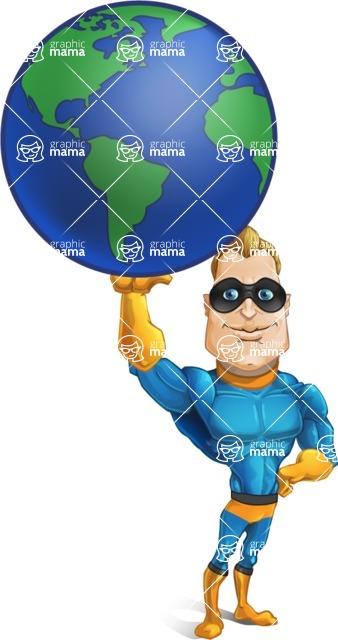 Superhero Cartoon Character AKA Commander Dynamo - Holding the Earth with One Hand