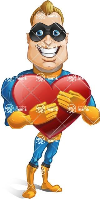 Superhero Cartoon Character AKA Commander Dynamo - Holding Heart