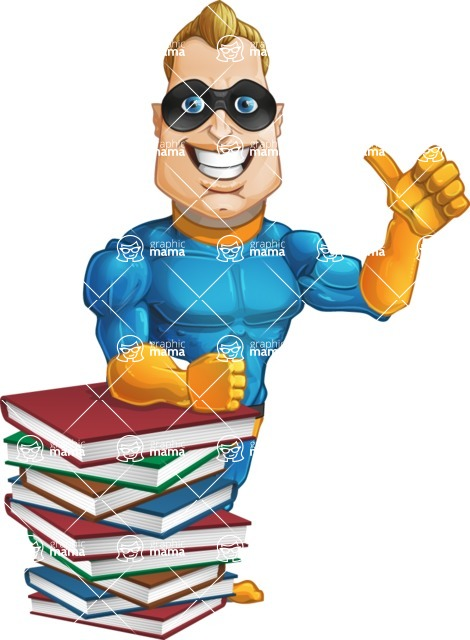 Superhero Cartoon Character AKA Commander Dynamo - With a Lot of Books