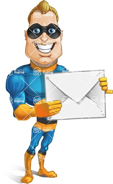 Superhero Cartoon​ Character AKA Commander Dynamo - Holding Mail Envelope