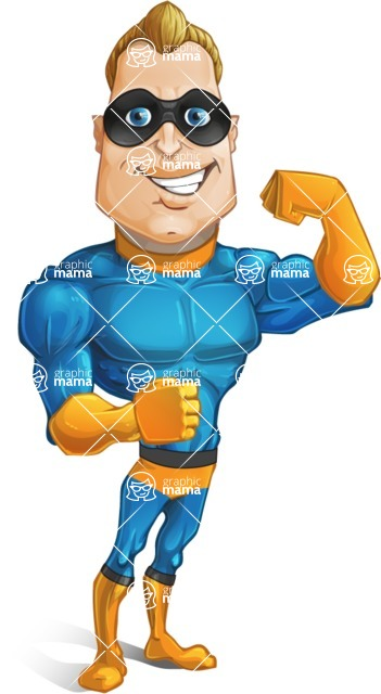 Superhero Cartoon​ Character AKA Commander Dynamo - Showing Big Muscles