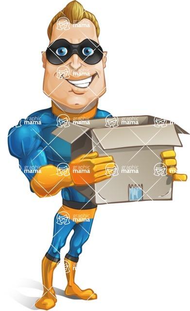 Superhero Cartoon Character AKA Commander Dynamo - Holding Delivery Box