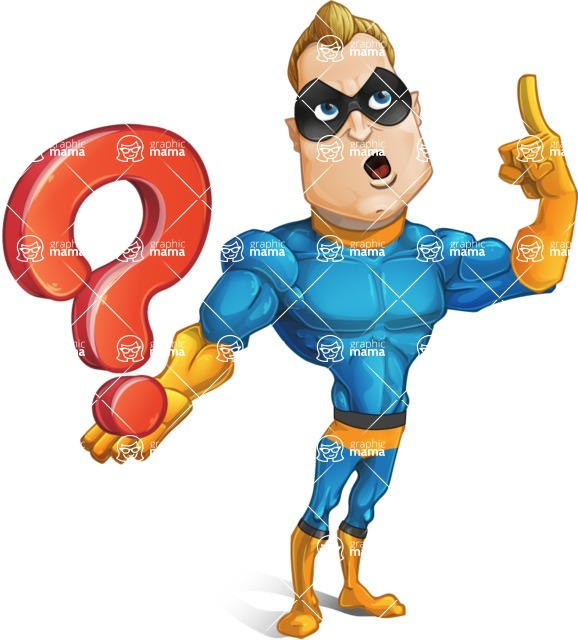 Superhero Cartoon Character AKA Commander Dynamo - With Question Mark
