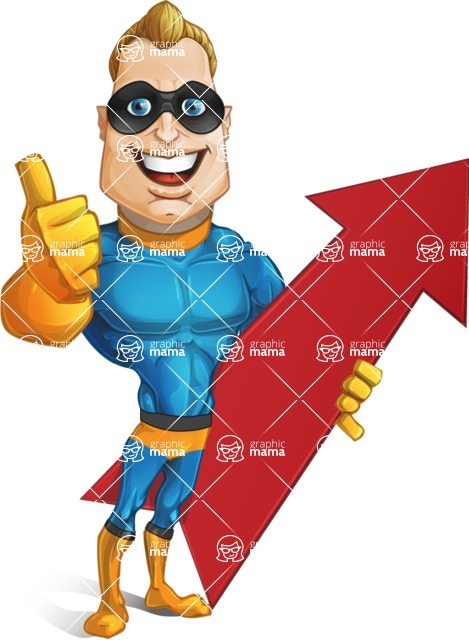 Superhero Cartoon​ Character AKA Commander Dynamo - With Up Arrow