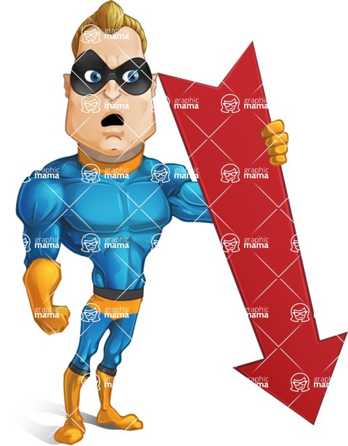 Superhero Cartoon Character AKA Commander Dynamo - With Arrow Going Down