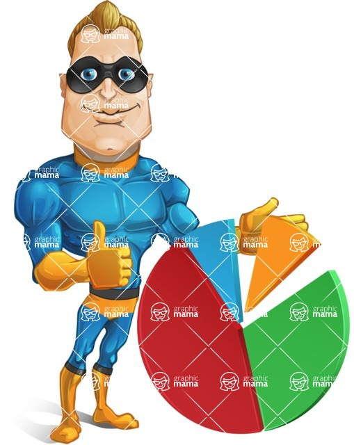 Superhero Cartoon Character AKA Commander Dynamo - With Business Graph