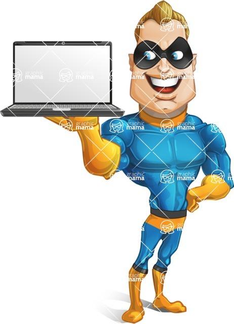 Superhero Cartoon Character AKA Commander Dynamo - Holding a Laptop
