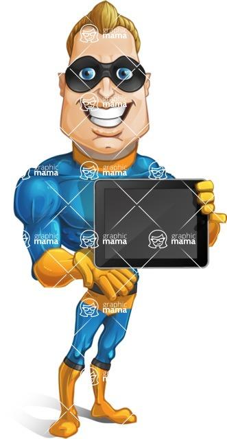 Superhero Cartoon Character AKA Commander Dynamo - Holding Tablet