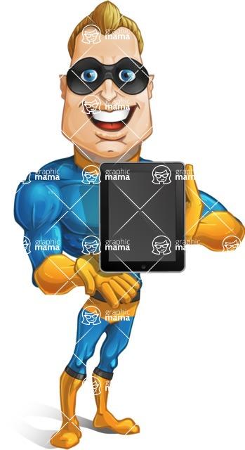 Superhero Cartoon Character AKA Commander Dynamo - Showing Tablet