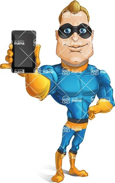 Superhero Cartoon Character AKA Commander Dynamo - Holding a Phone