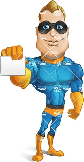 Superhero Cartoon​ Character AKA Commander Dynamo - Showing a Blank Business Card