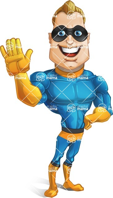 Superhero Cartoon​ Character AKA Commander Dynamo - Waving for Hello with a Hand