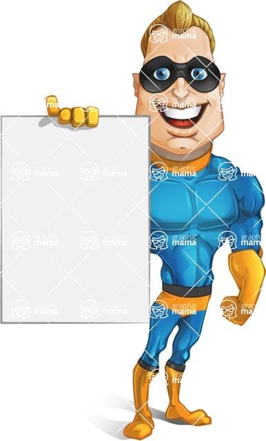 Superhero Cartoon Character AKA Commander Dynamo - Holding a Blank Presentation Sign with One Hand