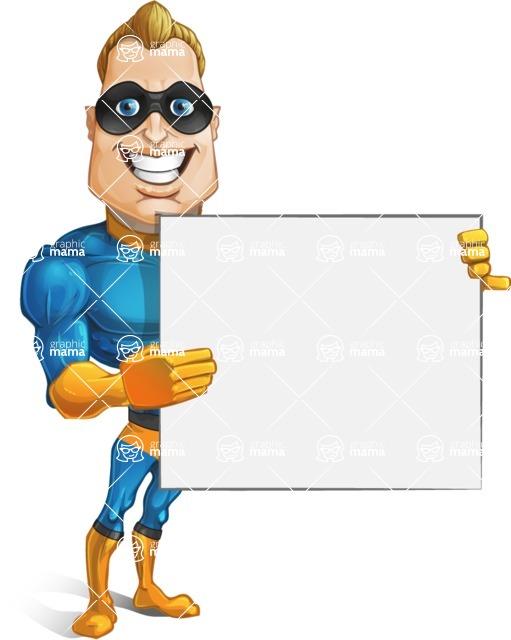 Superhero Cartoon Character AKA Commander Dynamo - Holding Blank Sign with both Hands