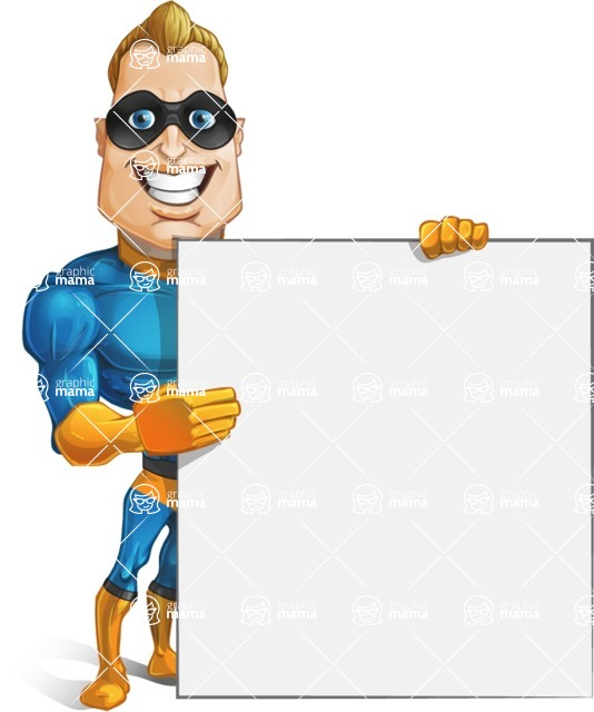 Superhero Cartoon​ Character AKA Commander Dynamo - Holding a Big Blank Presentation Sign
