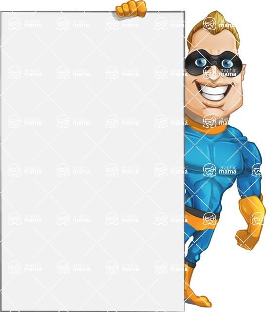 Superhero Cartoon Character AKA Commander Dynamo - With Big Presentation Board Template