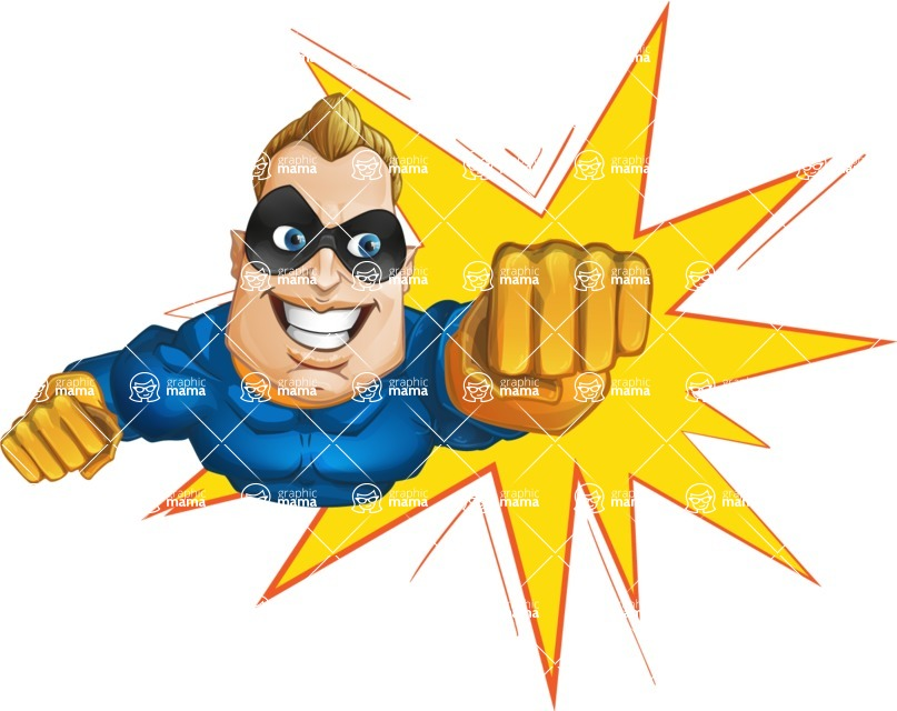 Superhero Cartoon​ Character AKA Commander Dynamo - With Comic Background
