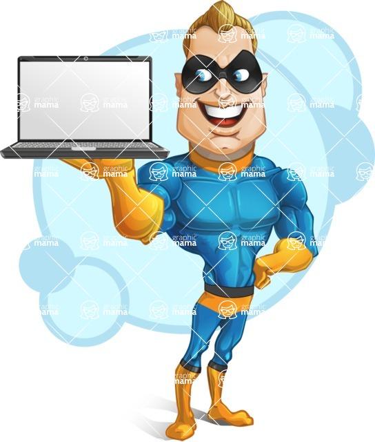 Superhero Cartoon Character AKA Commander Dynamo - With Simple Background