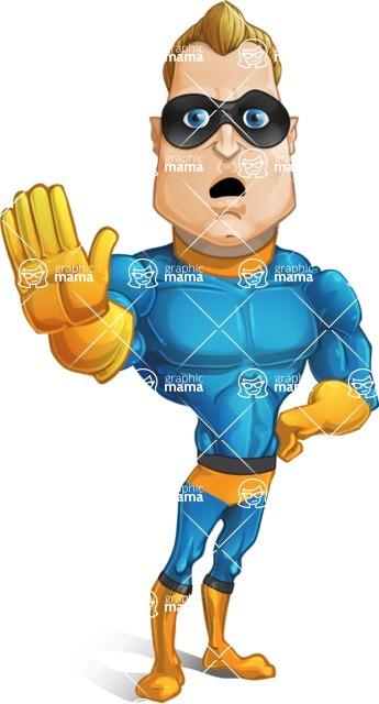 Superhero Cartoon Character AKA Commander Dynamo - Waving for Goodbye with a Hand
