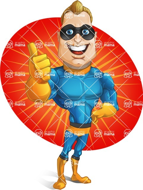 Superhero Cartoon​ Character AKA Commander Dynamo - With Colorful Background