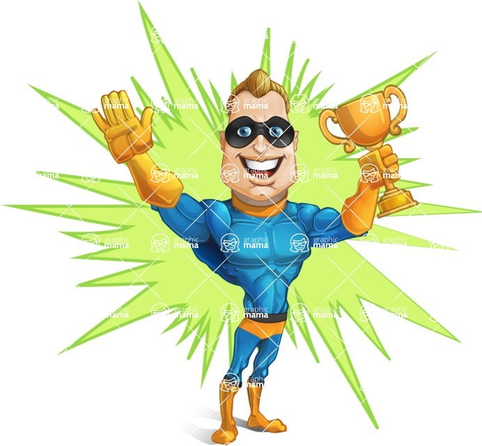 Superhero Cartoon Character AKA Commander Dynamo - With Energetic Background