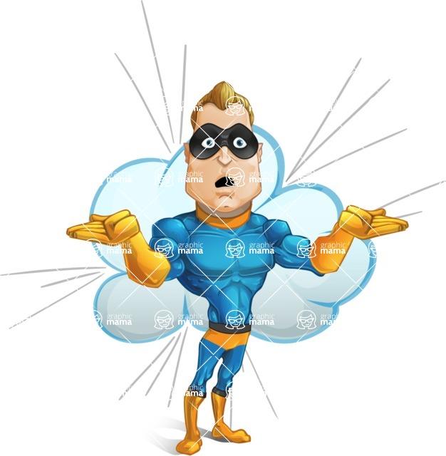 Superhero Cartoon Character AKA Commander Dynamo - With Comic Bubble Background
