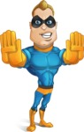 Superhero Cartoon​ Character AKA Commander Dynamo - Making Stop with Two Hands