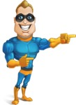 Superhero Cartoon​ Character AKA Commander Dynamo - Pointing with Smiling Face