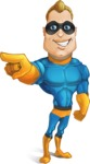 Superhero Cartoon​ Character AKA Commander Dynamo - Pointing Frontal with a Hand