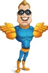 Superhero Cartoon​ Character AKA Commander Dynamo - Showing Frontal with Both Hands