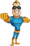 Superhero Cartoon​ Character AKA Commander Dynamo - Punching