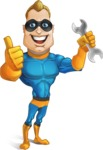 Superhero Cartoon​ Character AKA Commander Dynamo - With Repairing Tools - Wrench