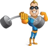 Superhero Cartoon​ Character AKA Commander Dynamo - Lifting Weights