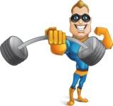 Superhero Cartoon Character AKA Commander Dynamo - Lifting Weights