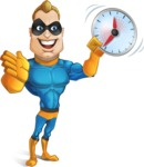 Superhero Cartoon​ Character AKA Commander Dynamo - Holding Clock
