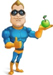 Superhero Cartoon​ Character AKA Commander Dynamo - Holding an Apple for Healthy Life