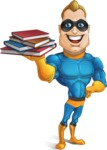 Superhero Cartoon​ Character AKA Commander Dynamo - Holding Books
