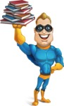 Superhero Cartoon​ Character AKA Commander Dynamo - Learning from Books