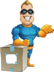 Superhero Cartoon​ Character AKA Commander Dynamo - With a Delivery Box