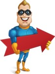 Superhero Cartoon​ Character AKA Commander Dynamo - With Forward Arrow