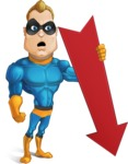 Superhero Cartoon​ Character AKA Commander Dynamo - With Arrow Going Down