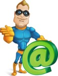 Superhero Cartoon​ Character AKA Commander Dynamo - With Email Sign