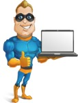 Superhero Cartoon​ Character AKA Commander Dynamo - Presenting on Laptop