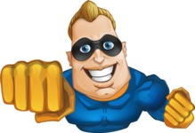 Superhero Cartoon​ Character AKA Commander Dynamo - Flying with a Smile