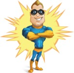 Superhero Cartoon​ Character AKA Commander Dynamo - With Classic Comic Background