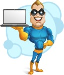 Superhero Cartoon​ Character AKA Commander Dynamo - With Simple Background