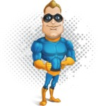Superhero Cartoon​ Character AKA Commander Dynamo - With Vintage Comic Background