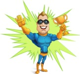 Superhero Cartoon​ Character AKA Commander Dynamo - With Energetic Background